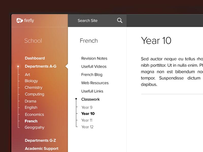 Firefly school Intranet Template website web design gui school intranet menu sidebar navigation