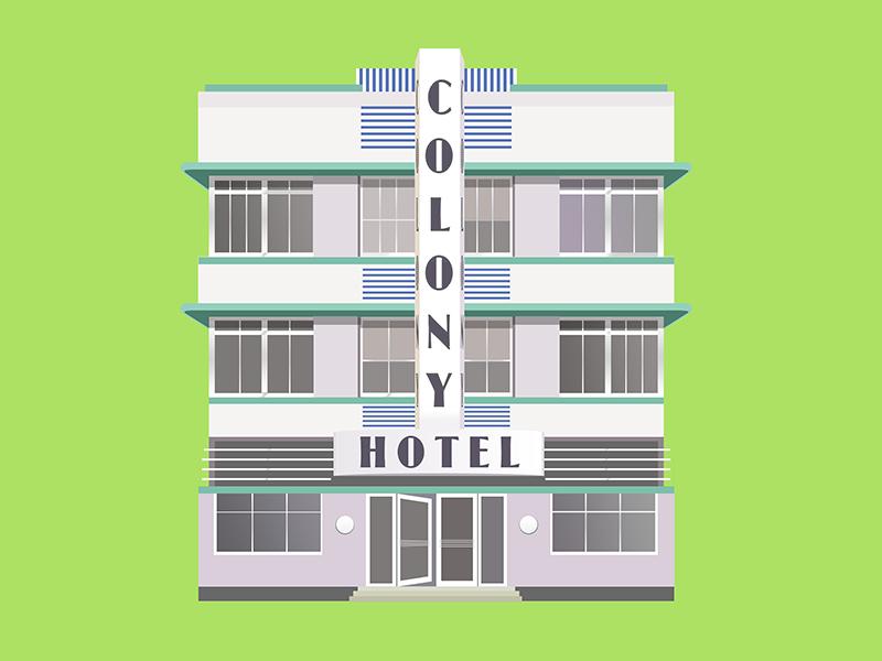 Colony Hotel Miami Beach miami beach flat art deco architecture colony hotel