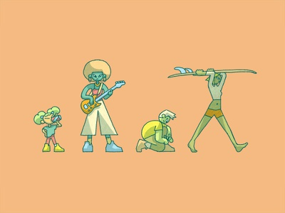 warm weather photoshop cool kids character design 2d