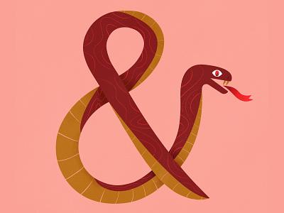Snake Ampersand red pink fire animal font ampersand snake