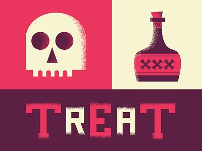 Treat series trick spooky creepy xxx pink purple poison skull halloween treat