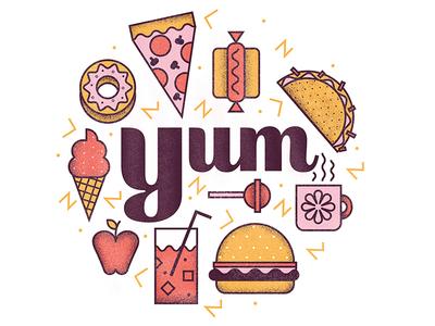 Junk Food apple hotdog burger icecream skillshare mikeyburton junkfood