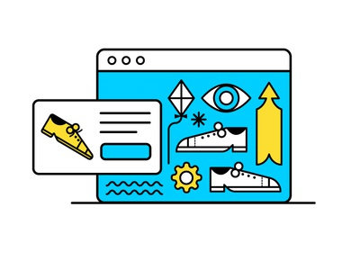 Day 1/100 vector design illustrate internet kite shoes eyes arrow browser surfing