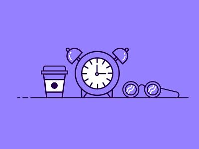 Morning Essentials mondays wake up warm starbucks coffee clock alarm glasses