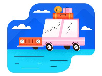 Road Trip adobe illustration design transport packages luggage roadtrip car