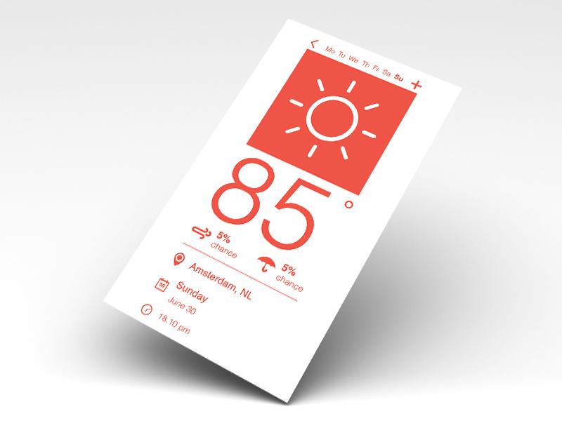 Flat Weather User Interface flat minimalistic weather ui ux photoshop user interface
