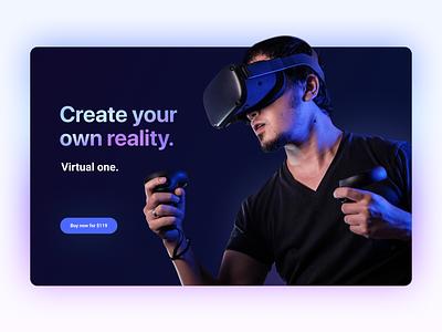 VR promo – landing page design ui first screen promo landing neon virtual virtualreality vr