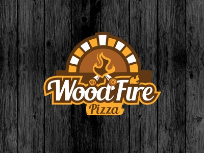 Woodfire Pizza emblem clean logo pizza woodfire