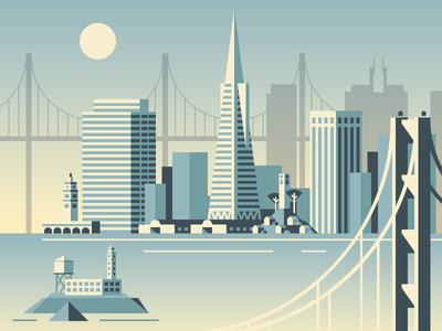 San Francisco pier buildings building bay bridge gradient city san francisco