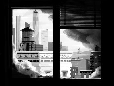 Hard week during a tough year. window water tower statue of liberty illustration textures buildings city skylines skyline new york city new york nyc