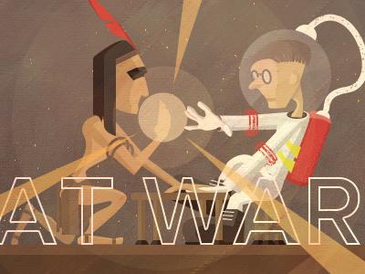 AT WAR (Proxima Nova) illustration spaceman future texture brown red white art