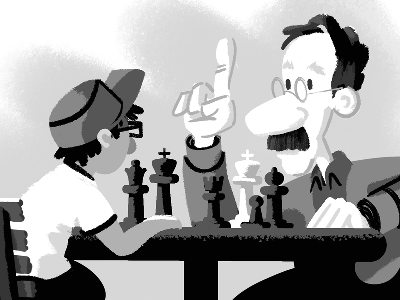 A man in the park is losing at chess. procreate boardgame game greyscale grayscale chairs table rook bishop pawn sketch blackandwhite character design characters moustache chess