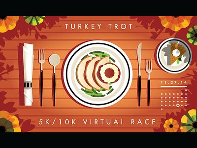 Turkey Trot thanksgiving turkey cutlery place pie