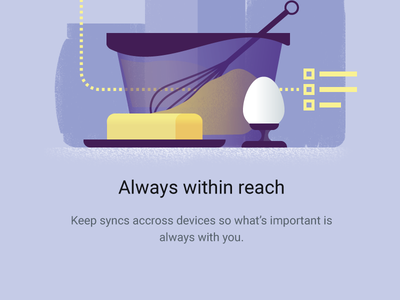 Google Keep - Warm Welcome onboarding device material lists motion intro welcome shopping butter cake recipe food
