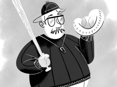 Coach baseball moustache black  white black and white illustration pen and ink coach