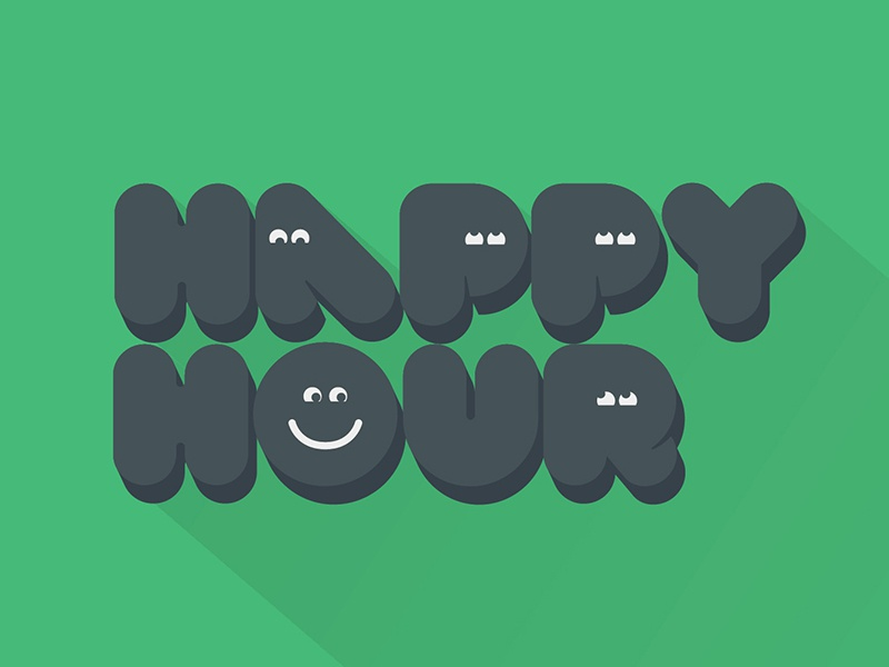 Because I'm Happy Hour type font happy cartoon faces green grey bubble happy hour smile animation dancing