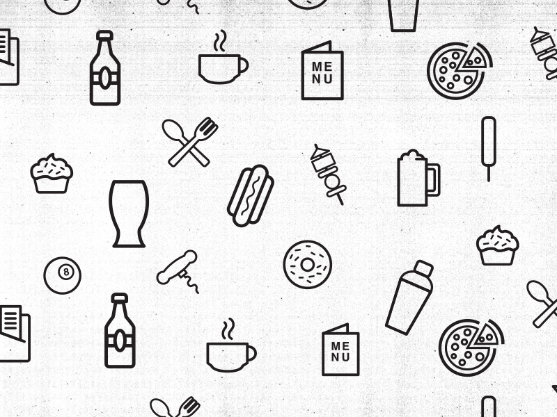 Happy Hour Icons icons food beverage photocopy illustration pattern texture happy hour pizza