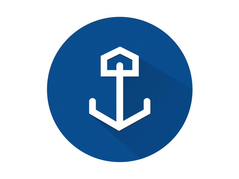 Anchored House Logo logo design branding icon anchor house real estate realty shadow blue navy nautical