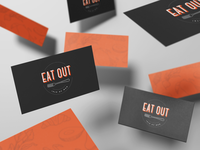 eatout.im business cards delivery food takeaway take out eat out logo design illustration business card branding logo