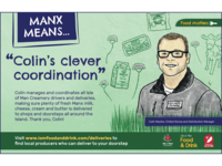 'manx means' ad campaign isle of man local print ad milk cow dairy creamery portrait drawing illustration