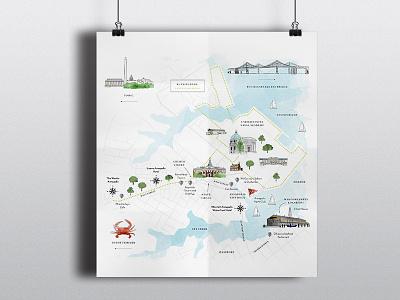 annapolis! bridge city cartography crab chapel buildings illustration map maryland usna annapolis