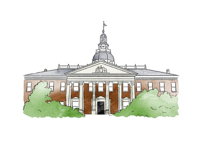 Maryland State House watercolor city government building illustration map maryland usna annapolis