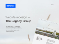 The Legacy Group  - website redesign; Behance case