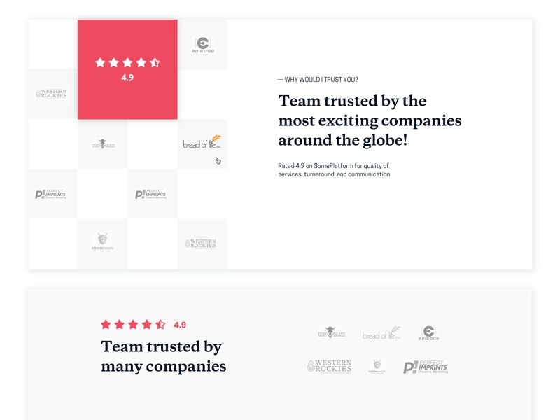 Trusted by... in process rating review partners trusted landing page web typography logo landing splitdevelopment desktop web design minimalistic ui design