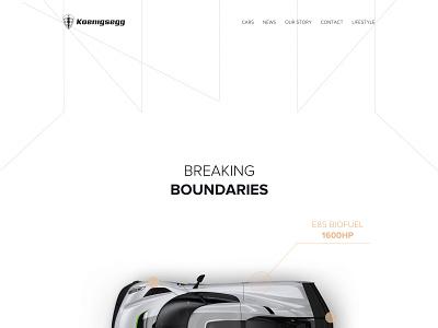 Koenigsegg - breaking boundaries koenigsegg car layout typography landing page grid product presentation product page automotive cars landing desktop web design minimalistic ui