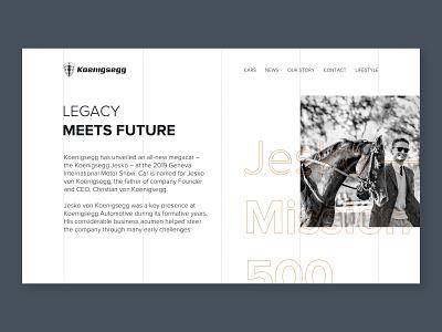 Koenigsegg - Legacy car koenigsegg typography grid layout product presentation product page automotive auto landing page landing desktop web design minimalistic ui