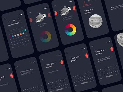 Mood tracker app - 3 mobile app mobile ux dark ui splitdevelopment habit tracker minimalistic colour picker calendar ui tracker space planet mood app design