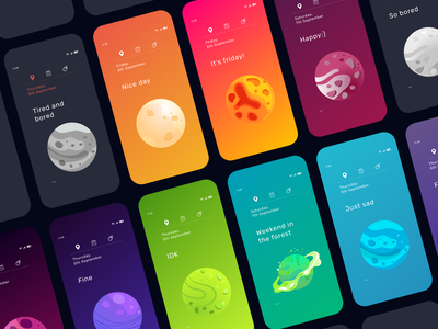 Mood tracker app - 4 mobile design mobile ui mobile app mobile ux splitdevelopment dark ui habit tracker colourful vector minimalistic ui tracker space planet mood app design