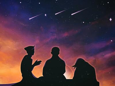 Friends красота тепло солнце звёзды закат друзья вечер