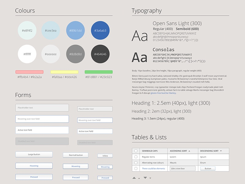 Markus Style Guide WIP style guide markus ui web design forms tables fonts colors colours