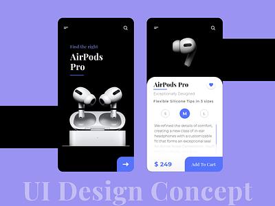 AirPods Pro Design Concept mobile app design ecommerce app airpods pro uidesign