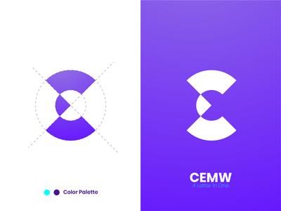 CEMW 4 Letter In One Logo illustraion web icon color logo creative concept branding typography gradient