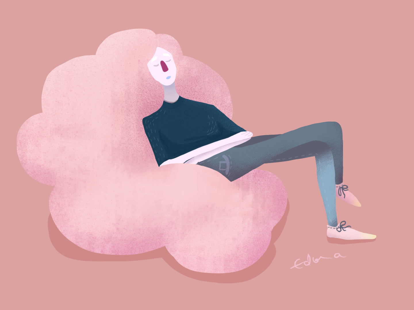 Hair in the clouds relaxing relax creativity creative  design figure drawing figurative figure pink girl character girl power girl illustration girl flat pink hair pinky photoshop animation design illustration