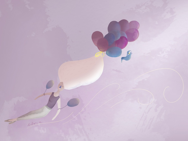 Up to the ceiling baloons floating relaxing relax pink pink hair photoshop illustration girl power girl illustration girl character girl flat figure drawing figure figurative design creativity creative  design animation
