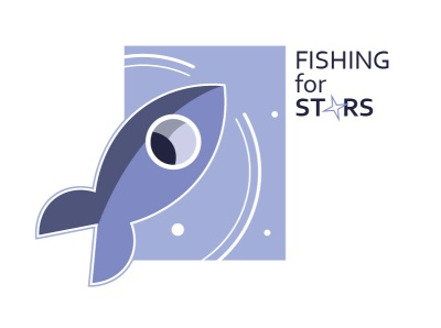Fishing for stars logodesign graphicdesign stars blue and white spaceship fishing logo icon ux vector ui logo illustration figure design creativity creative  design