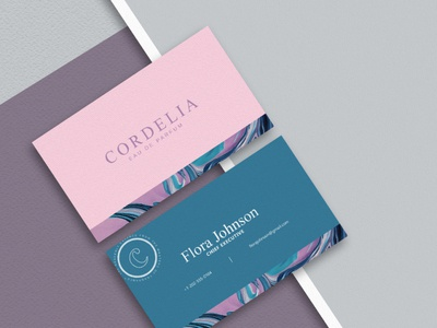 Cordelia brand business card identity branding identity pink graphicdesign perfume businesscard card design typography ux ui branding vector logo illustration photoshop design creativity creative  design