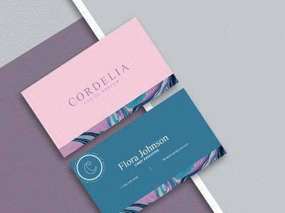 Cordelia brand business card identity branding identity pink graphicdesign perfume businesscard card design typography ux ui branding vector logo illustration photoshop design creativity creative  design