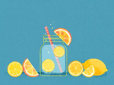 Lemonade illustration orange juice sun lemon orange summertime fruits summer lemonade