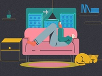 Chill chill illustration 2d character dog home aftereffects adobe illustrator motion