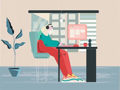 Office officespace cartoon adobe illustrator art design illustration fun office design office
