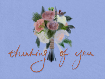 Thinking of you bridesmaid watercolor flower procreate colorful design illustration