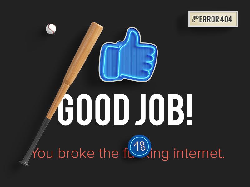 404 - Good Job! cussing portfolio error 404