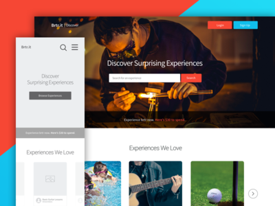 Discover Surprising Experiences - Landing page