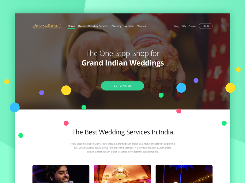 Landing page for a wedding services company indian india minimal website landing dreamzkraft wedding