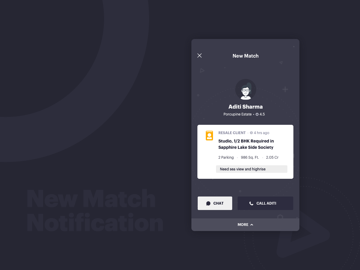 You have a match! real estate mobile app wireframe ux minimal