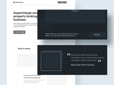 Final wireframe for app landing page